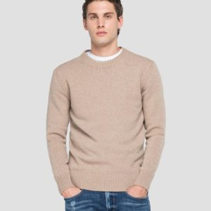 Replay Recycled Cashmere Crewneck Sweater - Sand (UK3081.000.G22736)