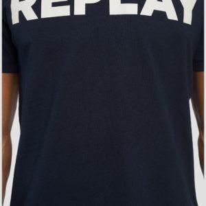 Replay Cotton T-Shirt Printed Logo - Navy (M3594)