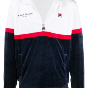 Fila Kane Velour Contrast Panel Zip-Up Sweatshirt - Peacoat/White/Red (LM015813)