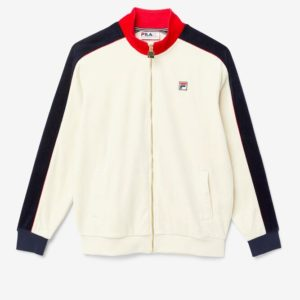 Fila Cima Velour Track Top - TURTLEDOVE/RED/PEACOAT (LM037842)