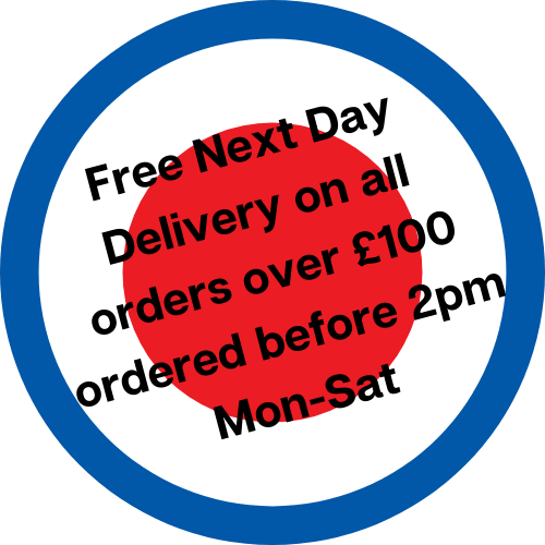 Free Next Day Delivery on all orders over £100 ordered before 2pm Mon-Sat