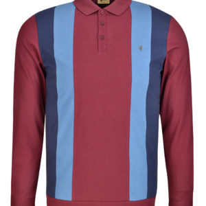 Gabicci Vintage Long Sleeve Polo Shirt - Merlot (V41GX13)