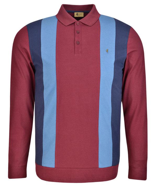 Gabicci Vintage Long Sleeve Polo Shirt - Merlot (V41GX13)