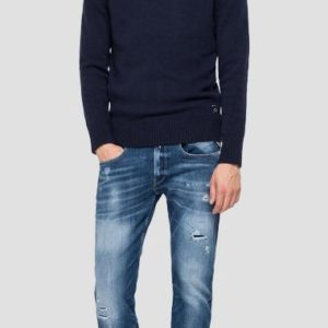 Replay Recycled Cashmere Crewneck Sweater - Navy (UK3081.000.G22736)