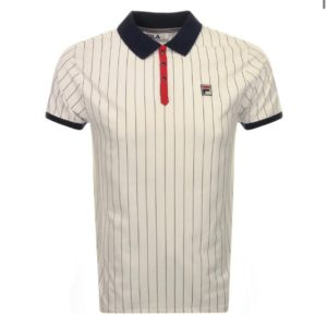 Fila BB1 Classic Vintage Ecru Stripe Polo - White/Peacoat/Chinese Red (LM1839AT)
