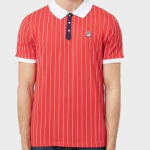 FILA BB1 Classic Vintage Striped Polo - Tibetan Red/Oyster White (LM1839AT)
