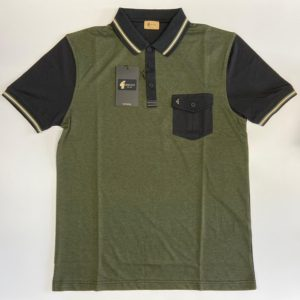Gabicci Vintage Pocket Polo Shirt - Black/Olive (V45GX06)