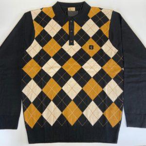 Gabicci Diamond Pattern Knitted Polo Shirt - Black/Oatmeal (V45GM01)