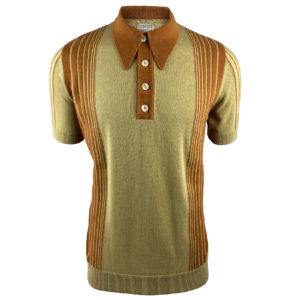 Ska and Soul Border Stripe Knit Polo Shirt - Sand (SS/2375)