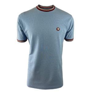 Trojan Tipped Pique T-Shirt - Sky (TC/1013)