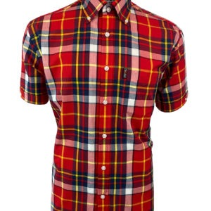 Trojan Madras Short Sleeve Check Shirt with Matching Pocket Square - Blood (SS/2020)
