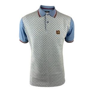 Trojan Pattern Polo Shirt - Sky (TR/8570)