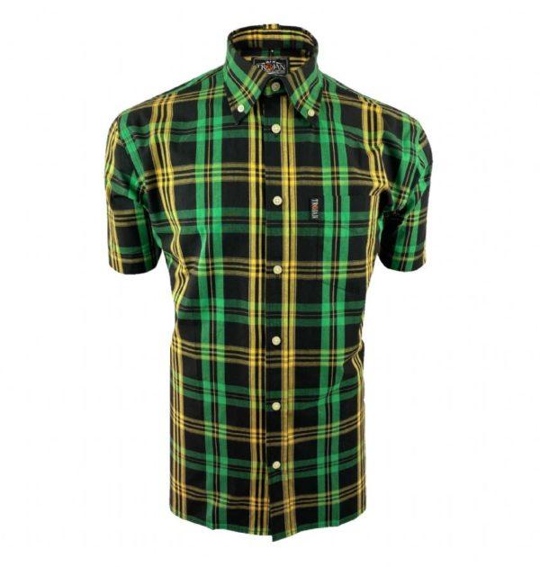 Trojan Windowpane SS Check B/D Shirt with free matching pocket square - Black (TC/1003)