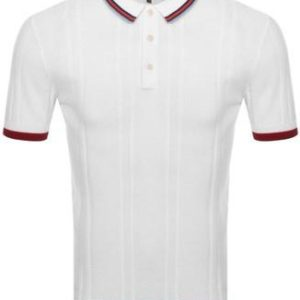 Pretty Green Mens Stripe Knitted Polo With Pocket - White (S20MUI2000074)