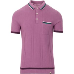 Pretty Green Mens Stripe Knitted Polo With Pocket - Pink (S20MUI2000074-P)
