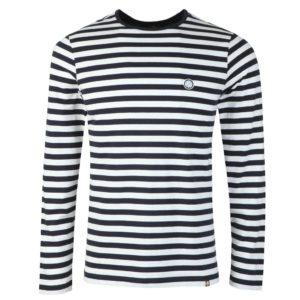 Pretty Green Long Sleeved Striped T-Shirt - Navy (C9GMUI5000115)