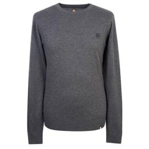 Pretty Green Crew Neck Knitted Jumper - Dark Grey Marl (C7GMU37419134-G)