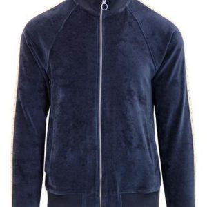 Pretty Green Black Label Velour Lace Detailed Track Top - Navy (S8BMU66319729)