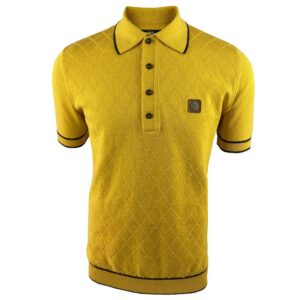 Trojan Fine Gauge Diamond Panel Polo - Mustard (TR/8610)