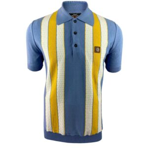 Trojan Fine Gauge Textured Stripe Polo - Sky (TR/8608)
