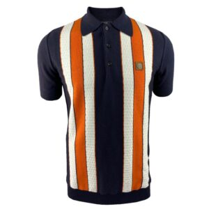 Trojan Fine Gauge Textured Stripe Polo - Navy (TR/8608)