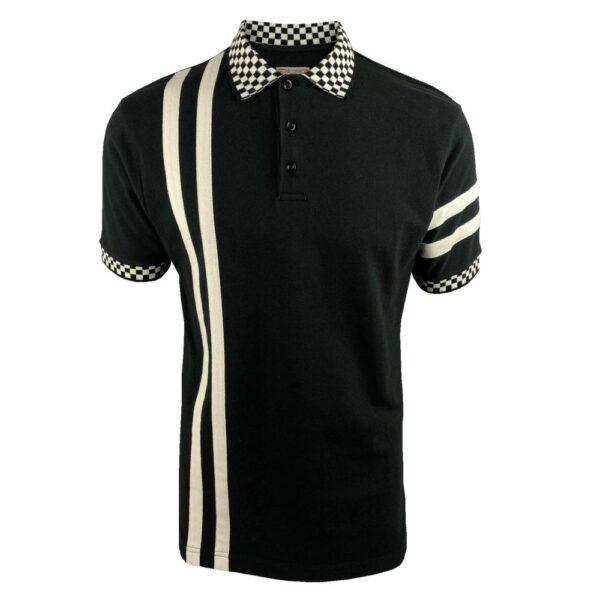 Ska & Soul Twin-Stripe Chequerboard Pique Polo - Black (SS/2416)
