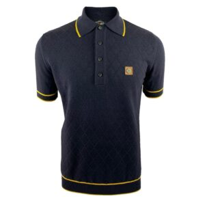 Trojan Fine Gauge Diamond Panel Polo - Navy (TR/8610)